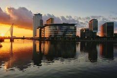 Coucher du soleil de ville de media Image libre de droits