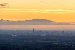 Coucher du soleil de vue aérienne de Manchester Image stock
