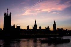Coucher du soleil de Westminster à Londres photo libre de droits