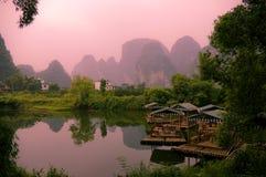 Coucher du soleil de Yangshuo Photos libres de droits