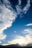 Coucher du soleil derrière des montagnes de Guimar Images stock