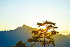 Coucher du soleil derrière les montagnes le soir Photos libres de droits