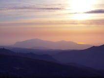 Coucher du soleil des automnes de trois soeurs Images stock