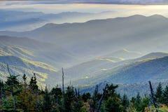 Coucher du soleil des couches du dôme de Clingman dans les montagnes fumeuses Images stock