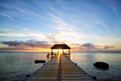 Coucher du soleil des Îles Maurice Image libre de droits