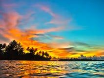 Coucher du soleil des Maldives Photo stock