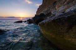 Coucher du soleil Devon de bord de la mer image stock