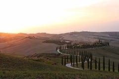 Coucher du soleil doux en Toscane photo libre de droits