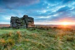 Coucher du soleil dramatique de Dartmoor Image stock