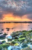 Coucher du soleil dramatique de mer Images libres de droits