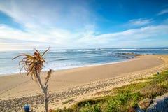Coucher du soleil dramatique de paysage marin avec les cieux oranges et les réflexions Photo stock