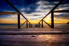 coucher du soleil droit à Image libre de droits