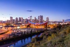 Coucher du soleil du centre de Calgary Image libre de droits