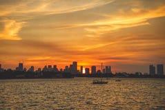 Coucher du soleil du centre de Miami la Floride image libre de droits