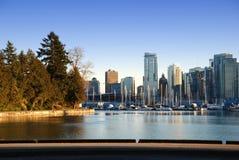 Coucher du soleil du centre de Vancouver Photo libre de droits