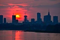 Coucher du soleil du centre de Varsovie Images libres de droits