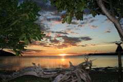 Coucher du soleil du Fiji Photos stock