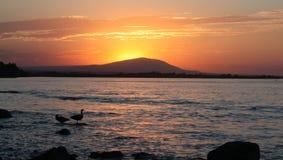 Coucher du soleil du fleuve Columbia Photos libres de droits