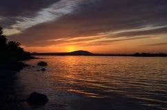 Coucher du soleil du fleuve Columbia, Tri villes, WA Images libres de droits