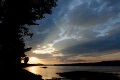 Coucher du soleil du lac Images stock