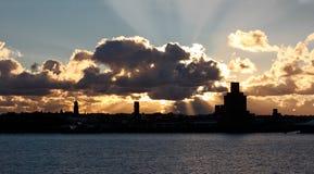 Coucher du soleil du Mersey Photographie stock libre de droits
