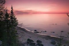 coucher du soleil du Michigan Photos libres de droits