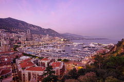 Coucher du soleil du Monaco Images stock
