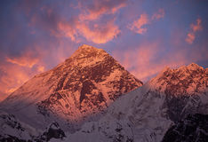 Coucher du soleil du mont Everest photo libre de droits