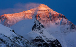Coucher du soleil du mont Everest Photo stock