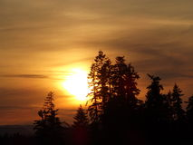 Coucher du soleil 2015 du nord-ouest de l'Orégon Image libre de droits