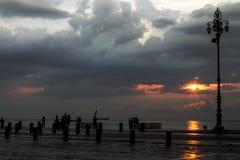 Coucher du soleil du port Photographie stock
