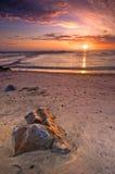 coucher du soleil du Portugal d'esposende Photographie stock