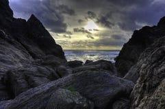 Coucher du soleil du sud de Devon Image stock