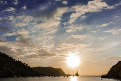 Coucher du soleil en île d'Ibiza Photographie stock libre de droits