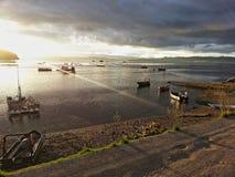 Coucher du soleil en île de Lemuy photo stock