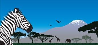 Coucher du soleil en Afrique illustration de vecteur