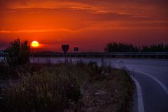 Coucher du soleil en Albanie Photographie stock libre de droits