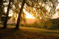 Coucher du soleil en Allemagne images stock