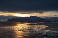 Coucher du soleil en Antarctique Photographie stock
