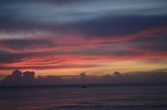 Coucher du soleil en Barbade image libre de droits