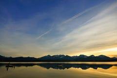 Coucher du soleil en Bavière, Allemagne Photos libres de droits