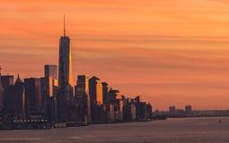 Coucher du soleil-En centre ville Manhattan Photographie stock