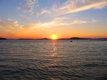 Coucher du soleil en Croatie Image libre de droits