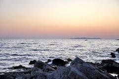 Coucher du soleil en Croatie Images libres de droits
