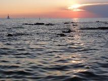 Coucher du soleil en Croatie Photo stock
