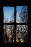 Coucher du soleil en dehors de mon hublot Images stock