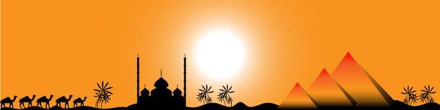 Coucher du soleil en Egypte, panorama Photographie stock libre de droits