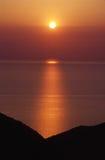 Coucher du soleil en Grèce Photographie stock libre de droits