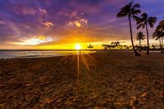 Coucher du soleil en Hawaï Image libre de droits