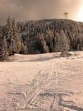 Coucher du soleil en hiver images libres de droits